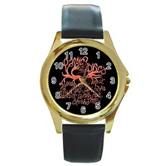 Panic At The Disco   Lying Is The Most Fun A Girl Have Without Taking Her Clothes Round Gold Metal Watch by Onesevenart