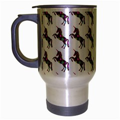 Rainbow Flower Unicorn Travel Mug (silver Gray) by SpookySugar