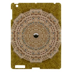 Golden Forest Silver Tree In Wood Mandala Apple Ipad 3/4 Hardshell Case by pepitasart