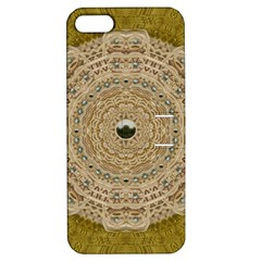 Golden Forest Silver Tree In Wood Mandala Apple Iphone 5 Hardshell Case With Stand by pepitasart