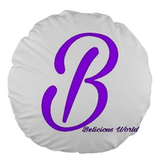 Belicious World  b  Blue Large 18  Premium Flano Round Cushions by beliciousworld