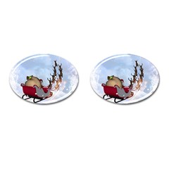 Christmas, Santa Claus With Reindeer Cufflinks (oval) by FantasyWorld7