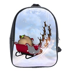 Christmas, Santa Claus With Reindeer School Bag (xl) by FantasyWorld7