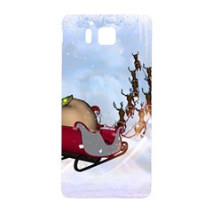Christmas, Santa Claus With Reindeer Samsung Galaxy Alpha Hardshell Back Case by FantasyWorld7