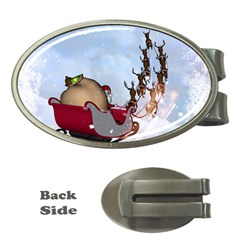 Christmas, Santa Claus With Reindeer Money Clips (oval)  by FantasyWorld7