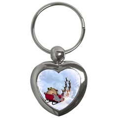 Christmas, Santa Claus With Reindeer Key Chains (heart)  by FantasyWorld7