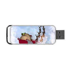 Christmas, Santa Claus With Reindeer Portable Usb Flash (two Sides) by FantasyWorld7