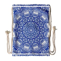 Blue Mandala Art Pattern Drawstring Bag (large) by paulaoliveiradesign