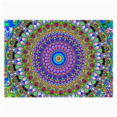 Colorful Purple Green Mandala Pattern Large Glasses Cloth (2 Side) by paulaoliveiradesign