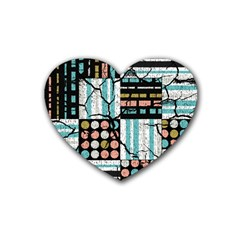 Distressed Pattern Rubber Coaster (heart)  by linceazul