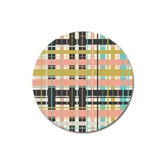 Plaid Pattern Magnet 3  (round) by linceazul
