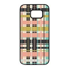 Plaid Pattern Samsung Galaxy S7 Edge Black Seamless Case by linceazul