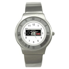 Video Game Controller 80s Stainless Steel Watch by Valentinaart