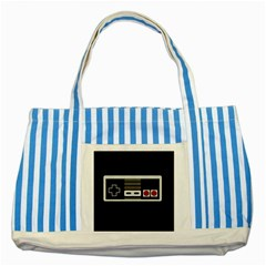 Video Game Controller 80s Striped Blue Tote Bag by Valentinaart