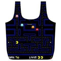 Pac Man Full Print Recycle Bags (l)  by Valentinaart