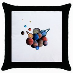 Planets  Throw Pillow Case (black) by Valentinaart