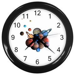 Planets  Wall Clocks (black) by Valentinaart