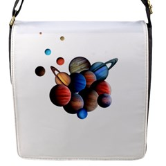 Planets  Flap Messenger Bag (s) by Valentinaart