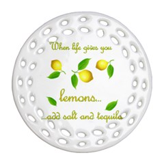 When Life Gives You Lemons Ornament (round Filigree) by Valentinaart