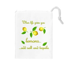 When Life Gives You Lemons Drawstring Pouches (large)  by Valentinaart