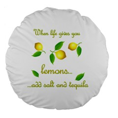 When Life Gives You Lemons Large 18  Premium Flano Round Cushions by Valentinaart