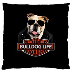 Bulldog Biker Large Flano Cushion Case (one Side) by Valentinaart