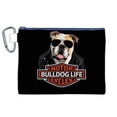 Bulldog Biker Canvas Cosmetic Bag (xl) by Valentinaart