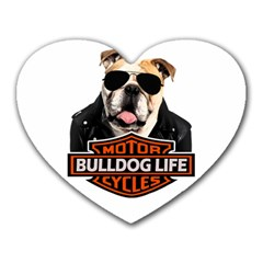 Bulldog Biker Heart Mousepads by Valentinaart