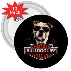Bulldog Biker 3  Buttons (10 Pack)  by Valentinaart