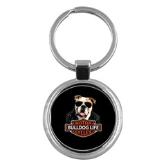 Bulldog Biker Key Chains (round)  by Valentinaart