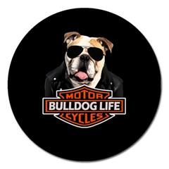 Bulldog Biker Magnet 5  (round) by Valentinaart