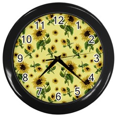 Sunflowers Pattern Wall Clocks (black) by Valentinaart