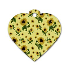 Sunflowers Pattern Dog Tag Heart (one Side) by Valentinaart