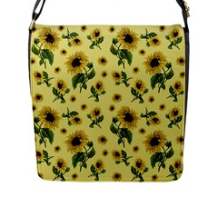 Sunflowers Pattern Flap Messenger Bag (l)  by Valentinaart