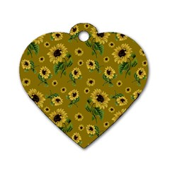Sunflowers Pattern Dog Tag Heart (two Sides) by Valentinaart