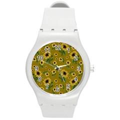Sunflowers Pattern Round Plastic Sport Watch (m) by Valentinaart