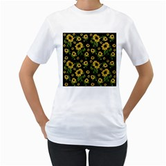 Sunflowers Pattern Women s T Shirt (white) (two Sided) by Valentinaart