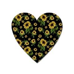 Sunflowers Pattern Heart Magnet by Valentinaart