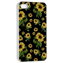 Sunflowers Pattern Apple Iphone 4/4s Seamless Case (white) by Valentinaart