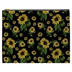 Sunflowers Pattern Cosmetic Bag (xxxl)  by Valentinaart