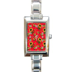 Sunflowers Pattern Rectangle Italian Charm Watch by Valentinaart