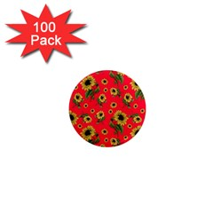 Sunflowers Pattern 1  Mini Magnets (100 Pack)  by Valentinaart