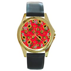 Sunflowers Pattern Round Gold Metal Watch by Valentinaart