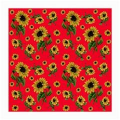 Sunflowers Pattern Medium Glasses Cloth by Valentinaart