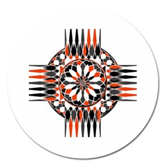 Geometric Celtic Cross Magnet 5  (round) by linceazul