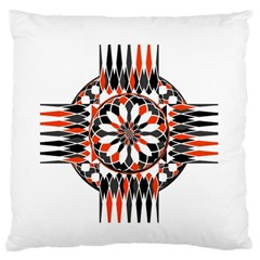 Geometric Celtic Cross Large Flano Cushion Case (two Sides) by linceazul