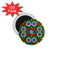 Cute Floral Mandala  1 75  Magnets (100 Pack)  by paulaoliveiradesign