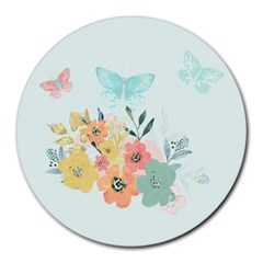 Watercolor Floral Blue Cute Butterfly Illustration Round Mousepads
