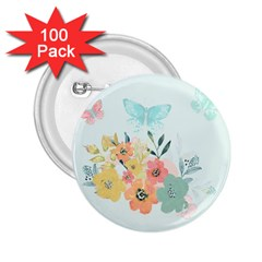 Watercolor Floral Blue Cute Butterfly Illustration 2 25  Buttons (100 Pack)