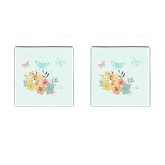 Watercolor Floral Blue Cute Butterfly Illustration Cufflinks (square) by paulaoliveiradesign
